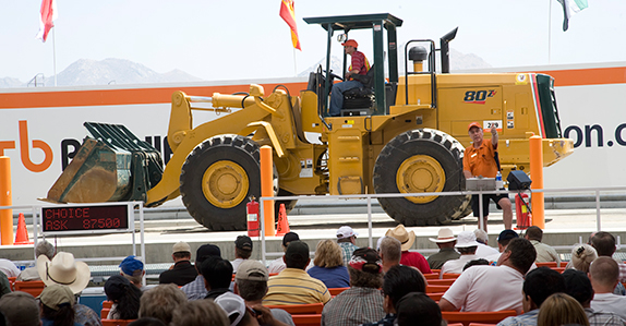 A wheel loader selling at a Ritchie Bros. auction in Perris, California.
