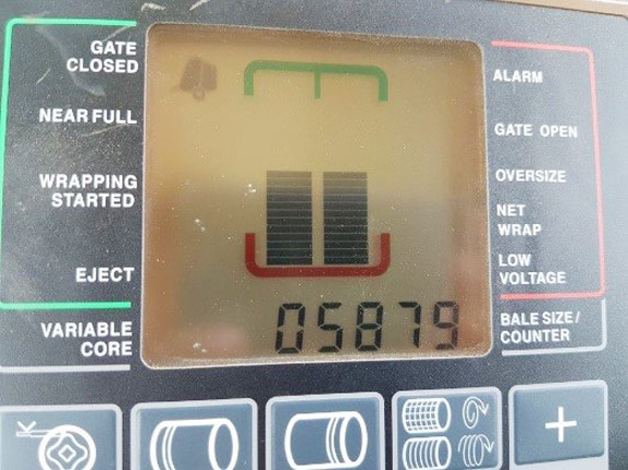 Odometer of a used baler sold by Ritchie Bros.