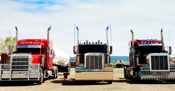 Trucks ready to be sold to out-of-state buyers with the help of Ritchie Bros.